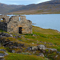 15. Grass-dominated vegetation in relation to the ruins of Hvalseys church from a Norse settlement in South Greenland (photo-copyright: Michael Møller Hansen)