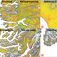 18. Classification maps of key sites around Greenland (detail from Fig. 6)